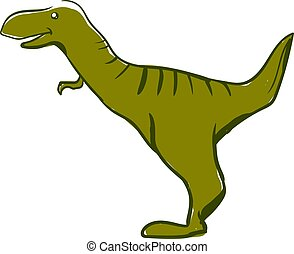 Happy green dinosaur, illustration, vector on white background.