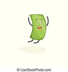 Happy green dollar character is jumping with arms raised up cartoon style