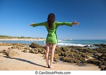 happy green dress woman