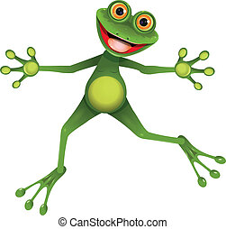 happy green frog - illustration merry green frog with...