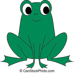 Happy green frog, illustration, vector on white background.