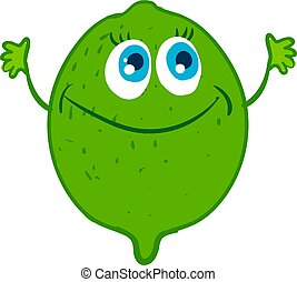 Happy green lime, illustration, vector on white background