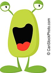 Happy green monster vector or color illustration