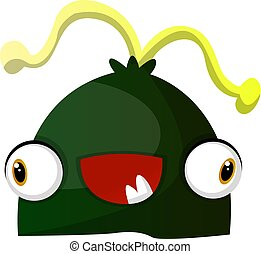 Happy green monster with yellow hair illustration vector on white background