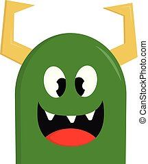 Happy green monster with yellow horns vector illustration on white background
