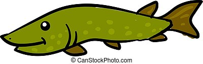 Happy green pike, illustration, vector on white background.