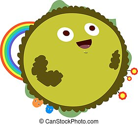 Happy Green Planet With Rainbow