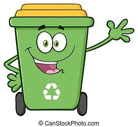Happy Green Recycle Bin