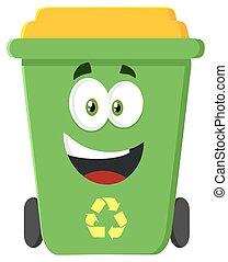 Happy Green Recycle Bin Flat Design