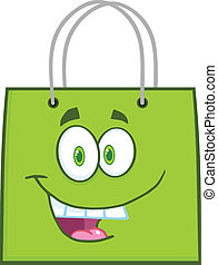 Happy Green Shopping Bag Cartoon Mascot Character