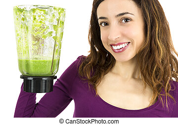 Happy green smoothie woman
