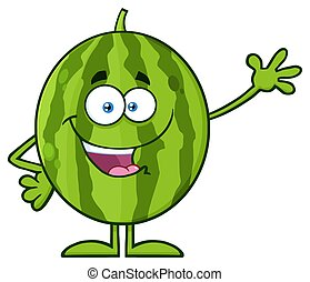 Happy Green Watermelon Fruit Cartoon Mascot Character Waving...