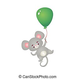 Happy grey mouse character flying with a green balloon. Vector illustration in the flat cartoon style.