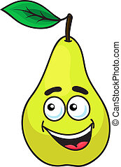 Happy grinning ripe pear fruit with a toothy smile and...