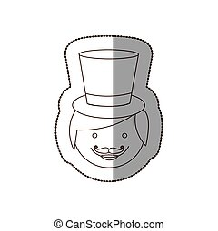 happy groom face with hat