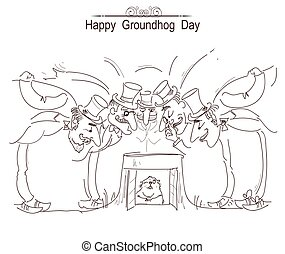 Happy Groundhog day card with group of men in cylinder hats and marmot