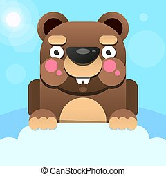 Happy Groundhog Day design with cute groundhog