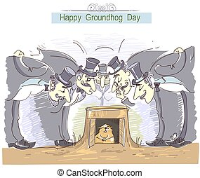 Happy Groundhog day with group of men in cylinder hats and...
