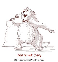 Happy Groundhog day with marmot singer.Vector hand drawn...