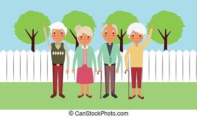 happy group elderly people in the backyard animation hd