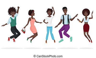 Happy group of african american teamwork friends jumping. Cartoon jump black people character vector illustration.