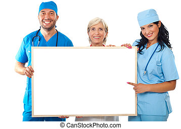 Happy group of doctors hold placard