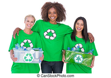 Happy group of environmental activists on white background