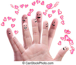 Happy group of finger faces  with their love offering