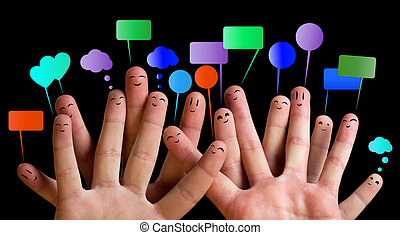 Happy group of finger smileys 3 - Happy group of finger...