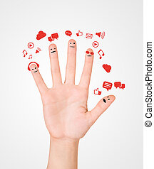 Happy group of finger smileys with social chat sign and speech b