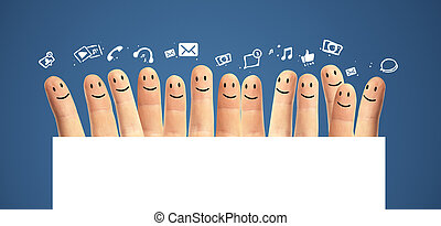 Happy group of finger smileys with social media icons