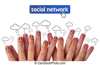 Happy group of finger smileys with social network icon -...