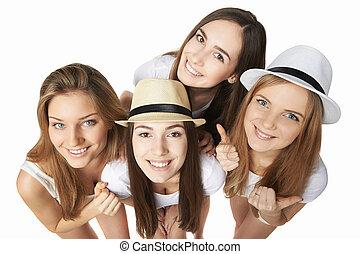 Happy group of friends having fun