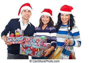 Happy group of friends with Christmas gifts