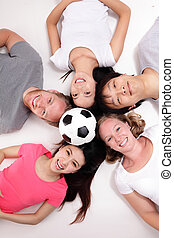 Happy Group of friends with soccer