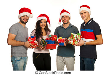 Happy group of friends with Xmas gifts