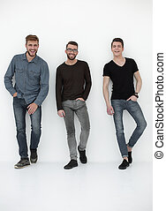 happy group of men laughing for the camera - three casual...