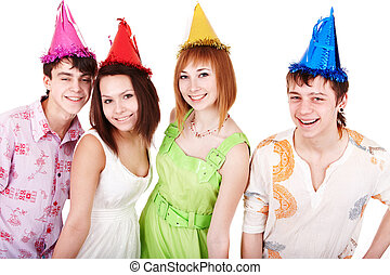 Happy group of people celebrate birthday.