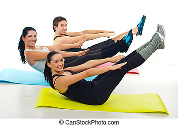 Happy group of people stretching