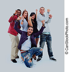 Happy group of people with arms up - isolated over white.