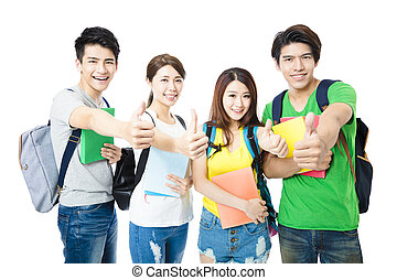happy group of the college students with thumbs up