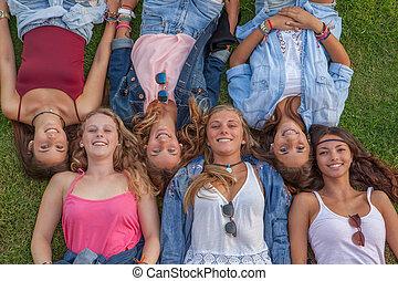 happy group teens
