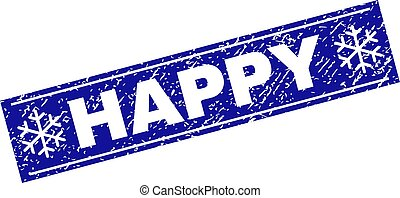 HAPPY Grunge Rectangle Stamp Seal with Snowflakes