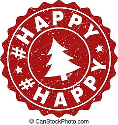 #HAPPY Grunge Stamp Seal with Fir-Tree