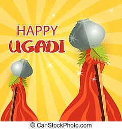 Happy Gudi Padwa grey pot and red flag - Happy ugadi...