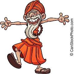 Happy guru - Happy and free cartoon guru. Vector clip art...