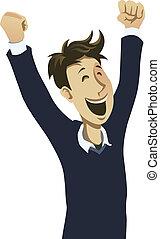 Happy guy cheering