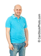 Happy guy in turquoise blank t-shirt