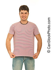 Happy guy showing blank t-shirt