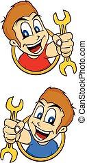 happy guy smile cartoon holding mechanic tool